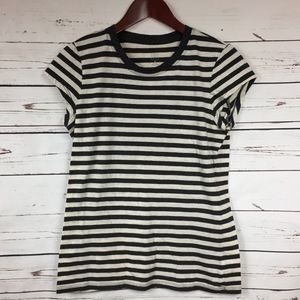 Gap Black & Heather Creme Striped T-Shirt Medium